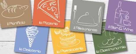 Arredamento locali pubblici Bar Ristoranti Pizzerie Pasticcerie Gelaterie loghi