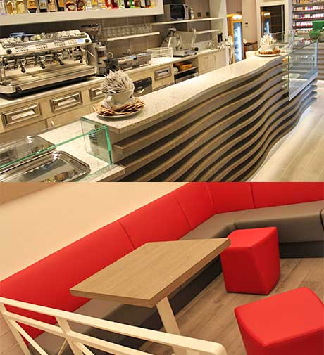 Arredamento Bar Caffetteria bancone e divanetti